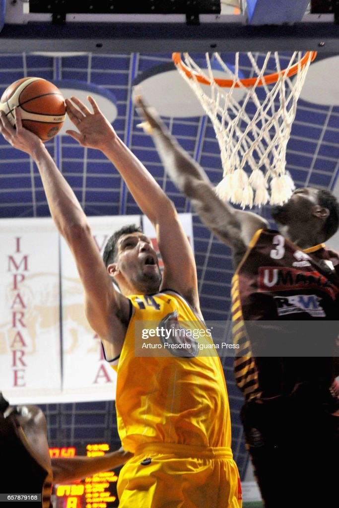 Gino Cuccarolo of Fiat competes with Melvin Ejim of Umana during the LegaBasket LBA of Serie A1 match between Reyer Umana Venezia and Auxilium Fiat Torino at Palasport Taliercio on March 19, 2017 in Mestre, Italy.