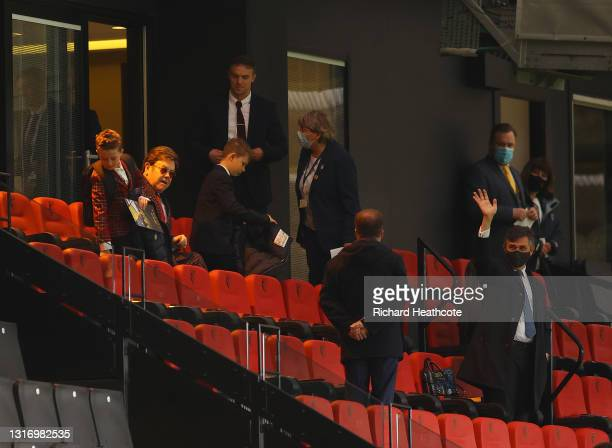 Gino Pozzo, Owner of Watford and Elton John, former owner of Watford with his son's during the Sky Bet Championship match between Watford and Swansea...