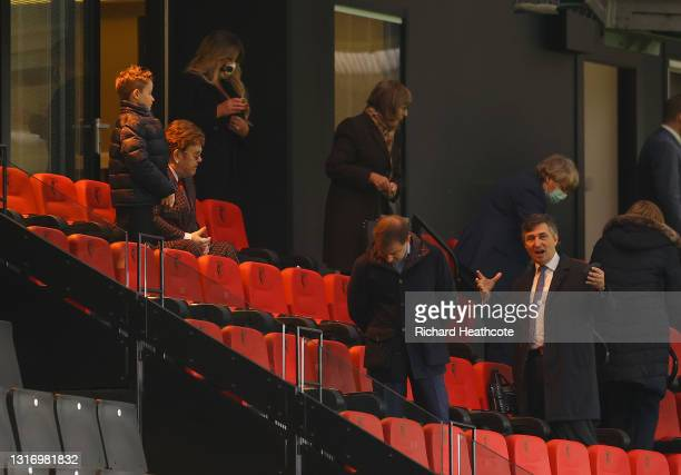 Gino Pozzo, Owner of Watford chats with Elton John, former owner of Watford during the Sky Bet Championship match between Watford and Swansea City at...