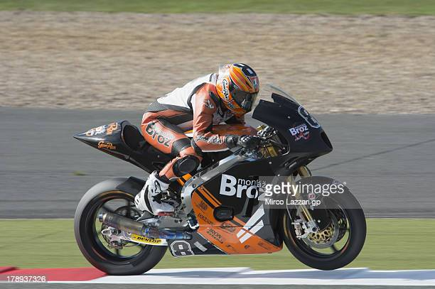 Gino Rea of Grat Britain and Gino Rea Montaze Broz Racing heads down a straight during the MotoGp Of Great Britain Qualifying at Silverstone Circuit...