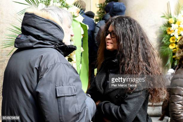 Gino Strada and Afef Jnifen attend in San Carlo square the funeral ceremony of Gian Marco Moratti at San Carlo Church on February 27 2018 in Milan...
