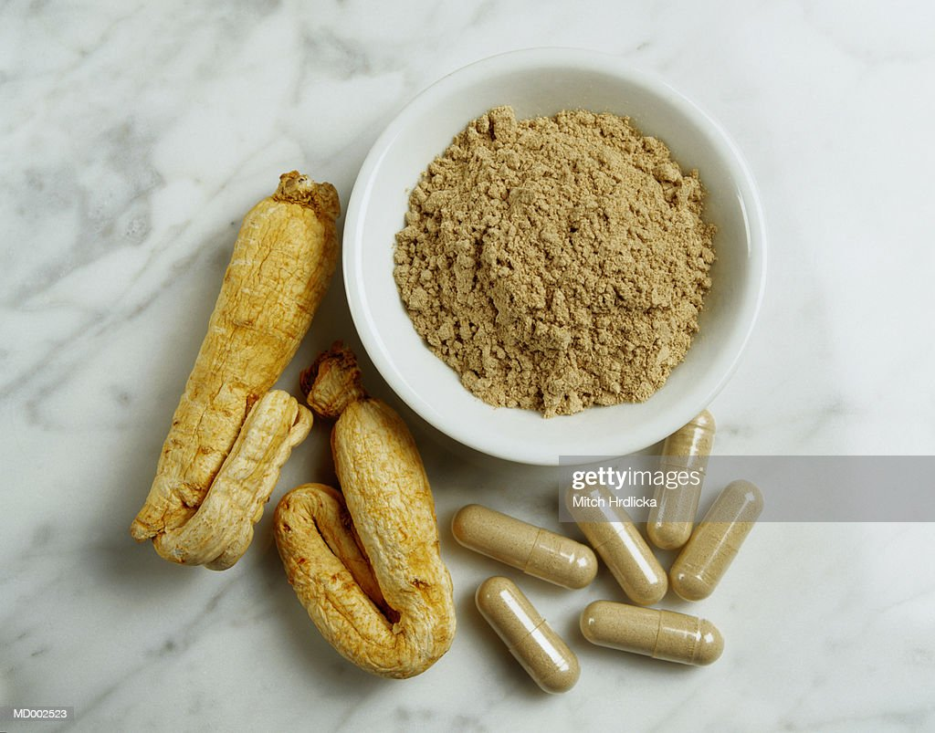 Ginseng Root, Powder and Capsules : Stock Photo