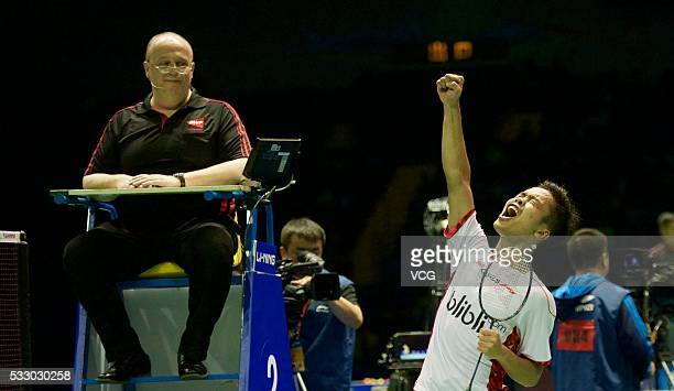Ginting Anthony of Indonesia celebrates victory against Lee Dong Keun of South Korea in the Thomas Cup semi-final match on day six of Thomas & Uber...