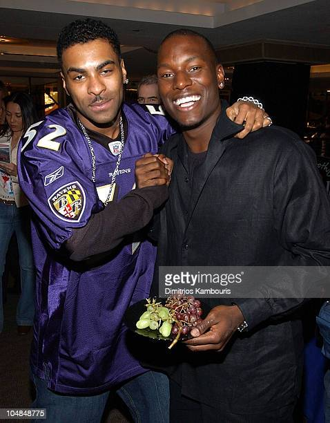 Ginuwine and Tyrese during The 45th GRAMMY Awards Radio Room Day One at Madison Square Garden in New York City New York United States