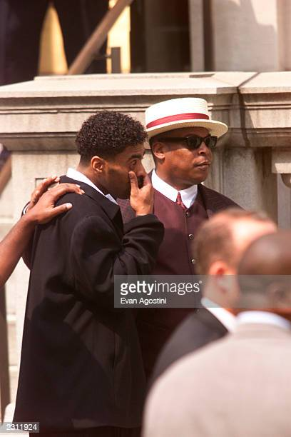 Ginuwine leaving R B singer Aaliyah's memorial service at St Ignatius Loyola Roman Catholic Church in New York City 8/31/2001 Photo Evan...