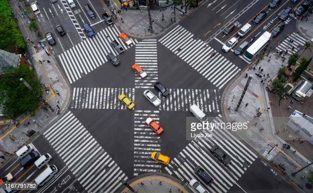 ginza cross aerial view - liyao xie stock pictures, royalty-free photos & images