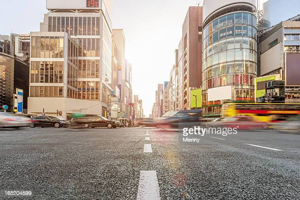 ginza crossing traffic tokyo japan - ginza stock pictures, royalty-free photos & images