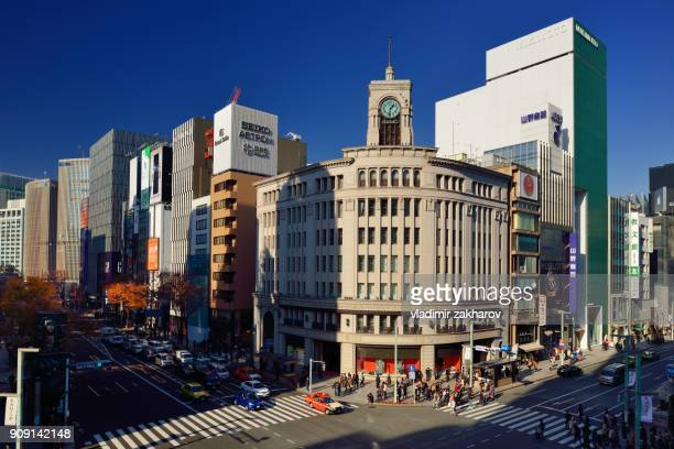 ginza crossing view - 百貨店 ストックフォトと画像