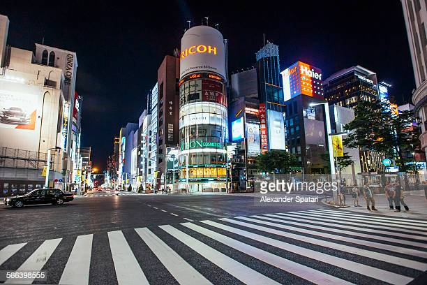 ginza district at night, tokyo, japan - ginza stock pictures, royalty-free photos & images