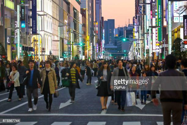 ginza, pedestrain paradise on sunday - ginza stock pictures, royalty-free photos & images