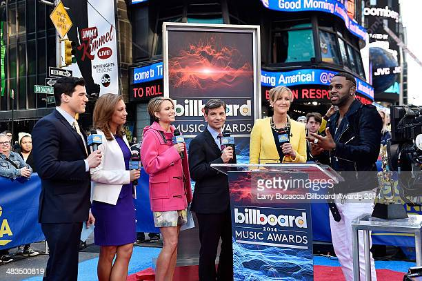 Gio Benitez, Ginger Zee, Amy Robach, George Stephanopoulos, and Lara Spencer look on as Jason Derulo announces the finalists for the 2014 Billboard...