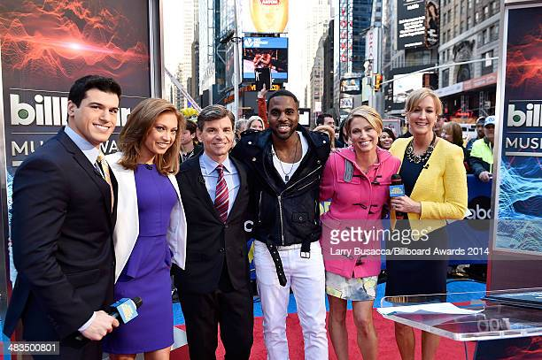 Gio Benitez, Ginger Zee, George Stephanopoulos, Jason Derulo, Amy Robach, and Lara Spencer pose at ABC News' Good Morning America Times Square Studio...