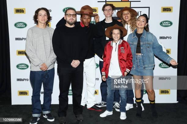 Gio Galicia director Jonah Hill Sunny Suljic Nakel Smith Ryder McLaughlin Alexa Demie and Olan Prenatt of Mid90's attend The IMDb Studio presented By...