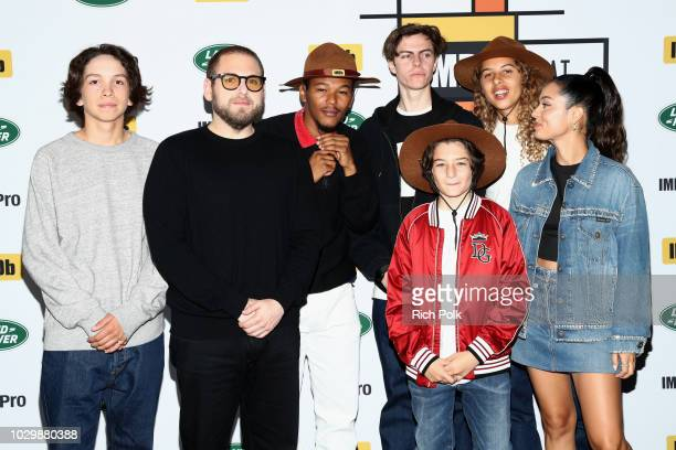 Gio Galicia director Jonah Hill Sunny Suljic Nakel Smith Ryder McLaughlin Alexa Demie and Olan Prenatt of Mid90's attend The IMDb Studio presented By...