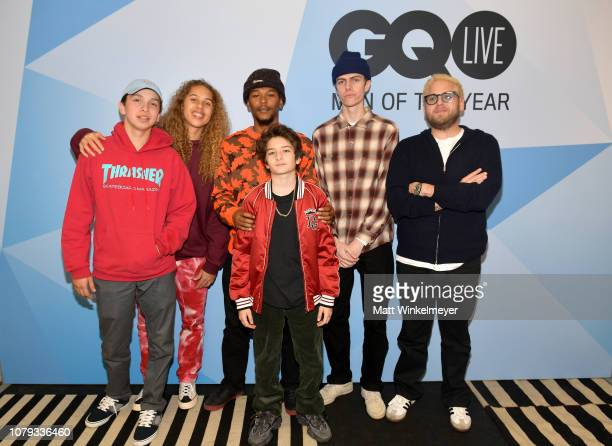 Gio Galicia Olan Prenatt Nakel Smith Sunny Suljic Ryder McLaughlin and Jonah Hill attend GQ Live The World Of Jonah Hill With The Cast Of 'Mid90s' at...