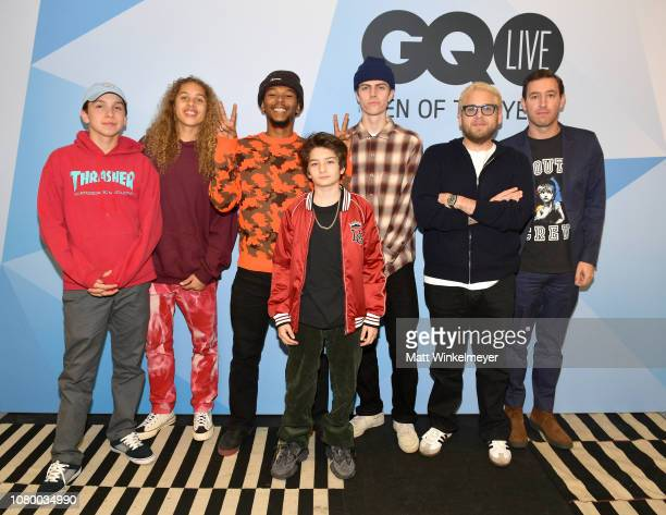 Gio Galicia Olan Prenatt Nakel Smith Sunny Suljic Ryder McLaughlin Jonah Hill and Zach Baron attend GQ Live The World Of Jonah Hill With The Cast Of...