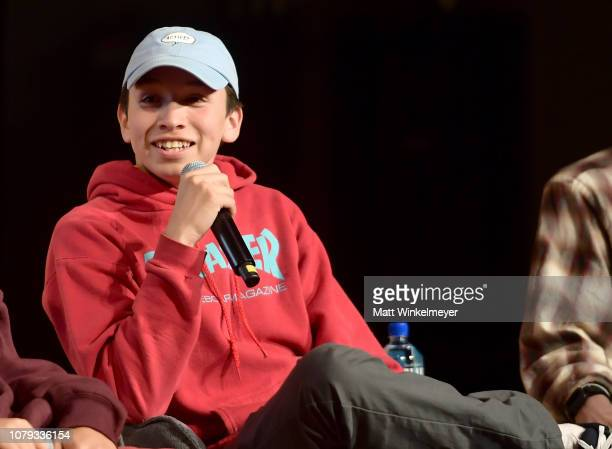 Gio Galicia speaks onstage at GQ Live The World Of Jonah Hill With The Cast Of 'Mid90s' at NeueHouse Los Angeles on December 07 2018 in Hollywood...