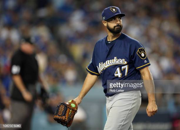 Gio Gonzalez of the Milwaukee Brewers is seen after giving up a run in the first inning of Game 4 of the NLCS against the Los Angeles Dodgers at...