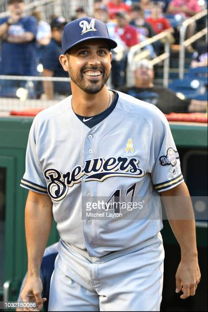 Gio Gonzalez of the Milwaukee Brewers looks on before a baseball game against the Washington Nationals at Nationals Park on September 1 2018 in...