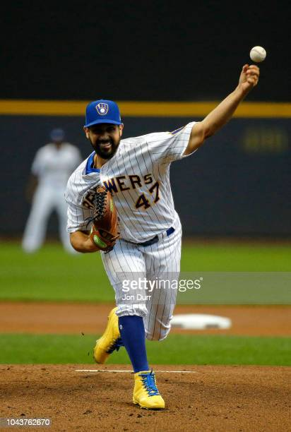 Gio Gonzalez of the Milwaukee Brewers pitches against the Detroit Tigers during the first inning at Miller Park on September 30 2018 in Milwaukee...