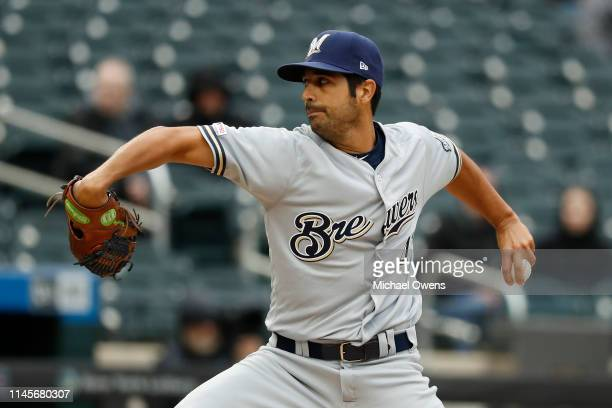 Gio Gonzalez of the Milwaukee Brewers pitches during the first inning against the New York Mets at Citi Field on April 28 2019 in the Flushing...
