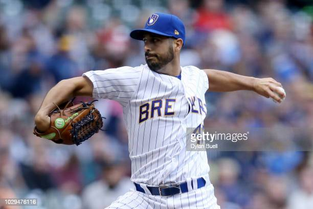 Gio Gonzalez of the Milwaukee Brewers pitches in the first inning against the San Francisco Giants at Miller Park on September 8 2018 in Milwaukee...