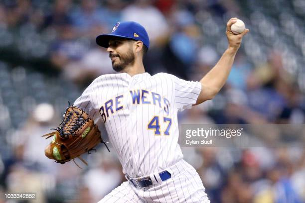 Gio Gonzalez of the Milwaukee Brewers pitches in the first inning against the Pittsburgh Pirates at Miller Park on September 14 2018 in Milwaukee...