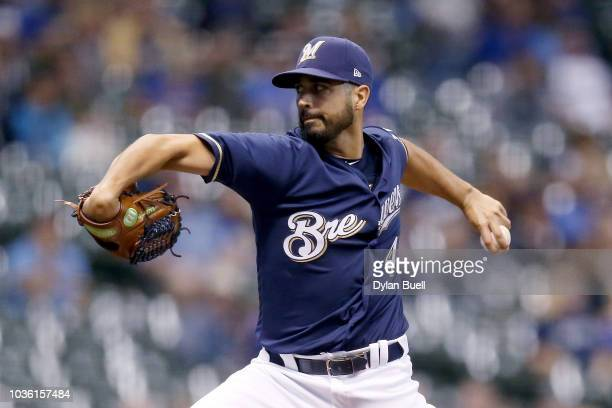 Gio Gonzalez of the Milwaukee Brewers pitches in the first inning against the Cincinnati Reds at Miller Park on September 19 2018 in Milwaukee...