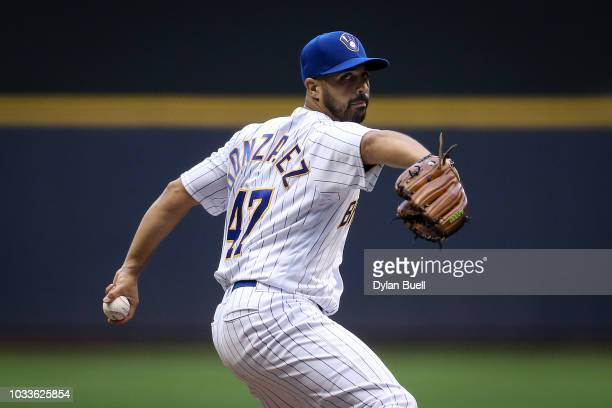 Gio Gonzalez of the Milwaukee Brewers pitches in the second inning against the San Francisco Giants at Miller Park on September 8 2018 in Milwaukee...