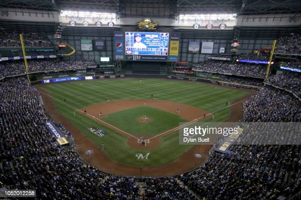 Gio Gonzalez of the Milwaukee Brewers throws a pitch against Chris Taylor of the Los Angeles Dodgers during the first inning in Game One of the...