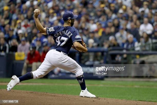 Gio Gonzalez of the Milwaukee Brewers throws a pitch against the Los Angeles Dodgers during the first inning in Game One of the National League...
