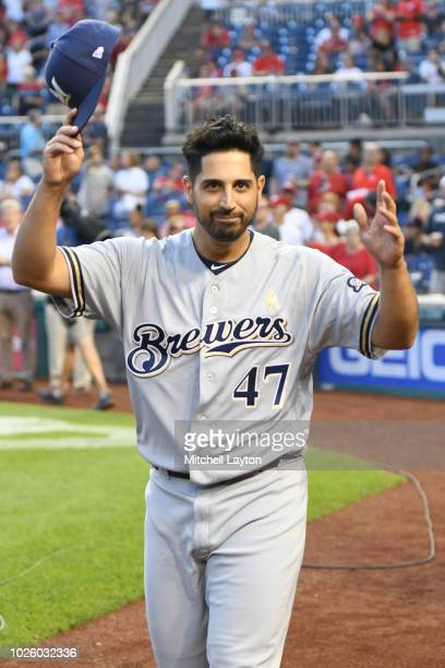 Gio Gonzalez of the Milwaukee Brewers waves to the fans after being honored before a baseball game against the Milwaukee Brewers at Nationals Park on...