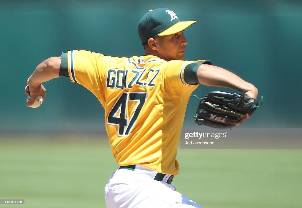 Gio Gonzalez #47 of the Oakland Athletics pitches against the Arizona Diamondbacks at Oakland-Alameda County Coliseum on July 3, 2011 in Oakland, California.