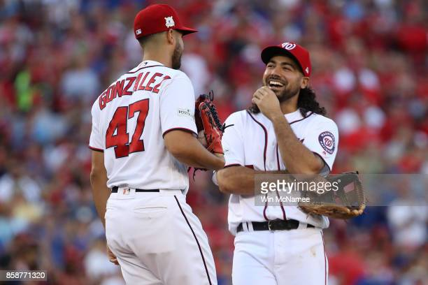 Gio Gonzalez of the Washington Nationals and Anthony Rendon of the Washington Nationals share a laugh prior to game two of the National League...
