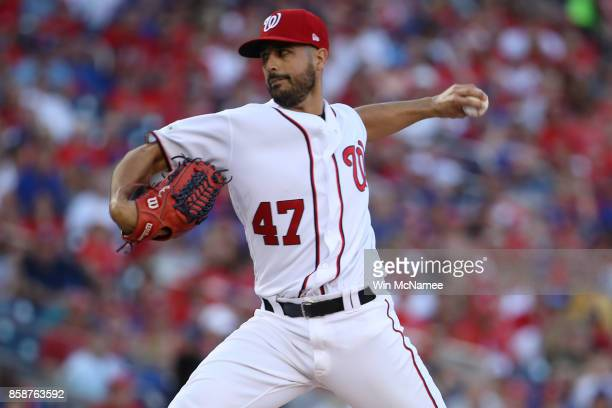 Gio Gonzalez of the Washington Nationals delivers a pitch against the Chicago Cubs in the first inning during game two of the National League...
