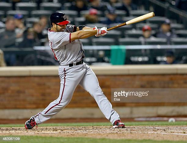 Gio Gonzalez of the Washington Nationals hits his solo home run in the fifth inning against the New York Mets on April 2 2013 at Citi Field in the...