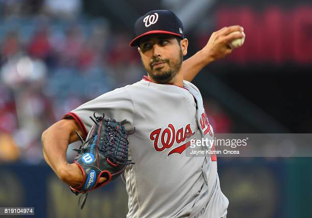 Gio Gonzalez of the Washington Nationals in the first inning of the game against the Los Angeles Angels at Angel Stadium of Anaheim on July 19 2017...