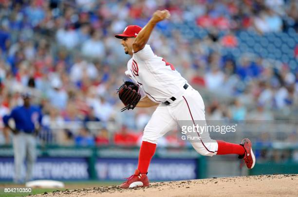 Gio Gonzalez of the Washington Nationals pitches against the Chicago Cubs at Nationals Park on June 26 2017 in Washington DC