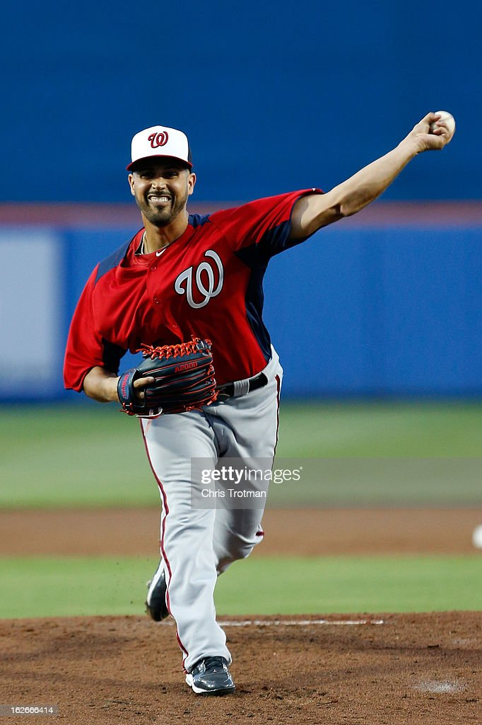 Gio Gonzalez #47 of the Washington Nationals pitches against the New York Mets at Tradition Field on February 25, 2013 in Port St. Lucie, Florida.