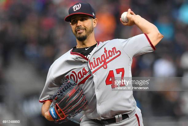 Gio Gonzalez of the Washington Nationals pitches against the San Francisco Giants in the bottom of the first inning at ATT Park on May 30 2017 in San...