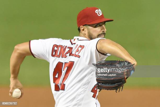 Gio Gonzalez of the Washington Nationals pitches during a baseball game against the Los Angeles Angels of Anaheim at Nationals Park on August 15 2017...