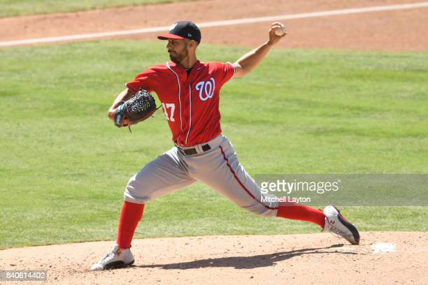 Gio Gonzalez of the Washington Nationals pitches during a baseball game against the San Diego Padres at Petco Park on August 20 2017 in San Diego...