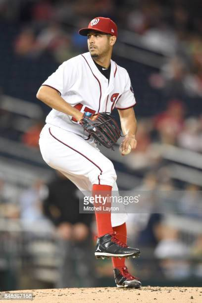 Gio Gonzalez of the Washington Nationals pitches during a baseball game against the Atlanta Braves at Nationals Park on September12 2017 in...