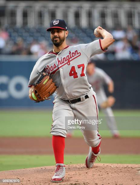 Gio Gonzalez of the Washington Nationals pitches during a baseball game against the San Diego Padres at PETCO Park on May 9 2018 in San Diego...