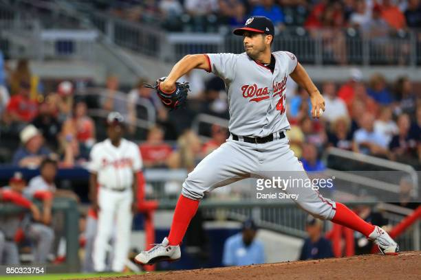 Gio Gonzalez of the Washington Nationals pitches during the first inning against the Atlanta Braves at SunTrust Park on September 20 2017 in Atlanta...