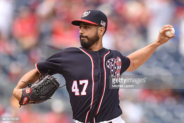 Gio Gonzalez of the Washington Nationals pitches in the first inning during a baseball game against the Philadelphia Phillies at Nationals Park on...