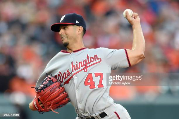 Gio Gonzalez of the Washington Nationals pitches in the first inning during a baseball game against the Washington Nationals at Oriole Park at Camden...