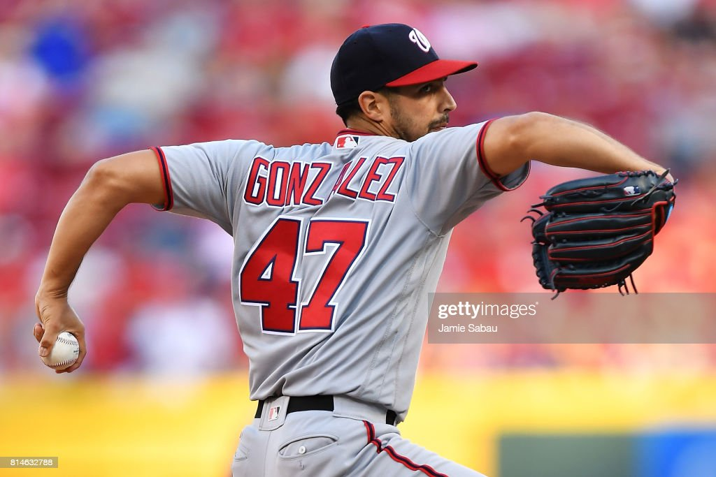 Gio Gonzalez #47 of the Washington Nationals pitches in the first inning against the Cincinnati Reds at Great American Ball Park on July 14, 2017 in Cincinnati, Ohio.