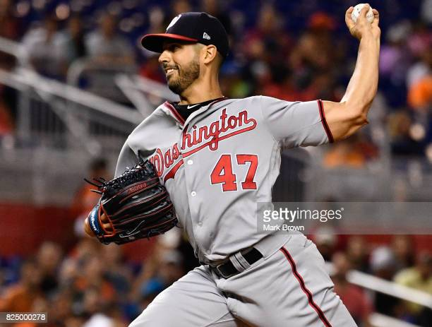 Gio Gonzalez of the Washington Nationals pitches in the first inning during the game between the Miami Marlins and the Washington Nationals at...