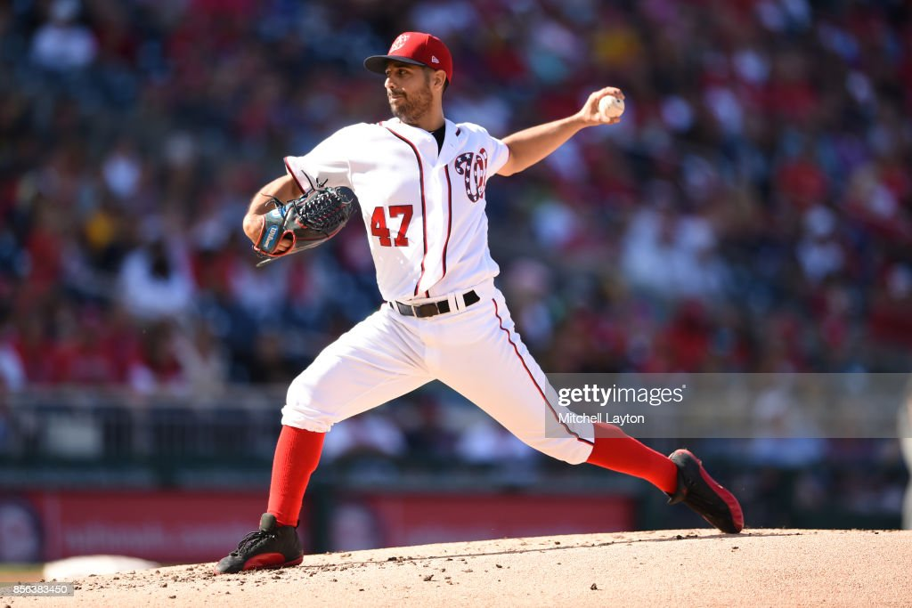 Gio Gonzalez #47 of the Washington Nationals pitches in the first inning during a baseball game against the Pittsburgh Pirates at Nationals Park on October 1, 2017 in Washington, DC.